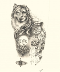 Commissioned drawing for tatoo