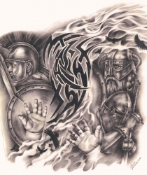 Commissioned drawing for tatoo. Graphite pencils, paper