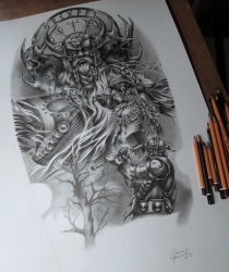 Custom tattoo drawing made to order for the tattoo