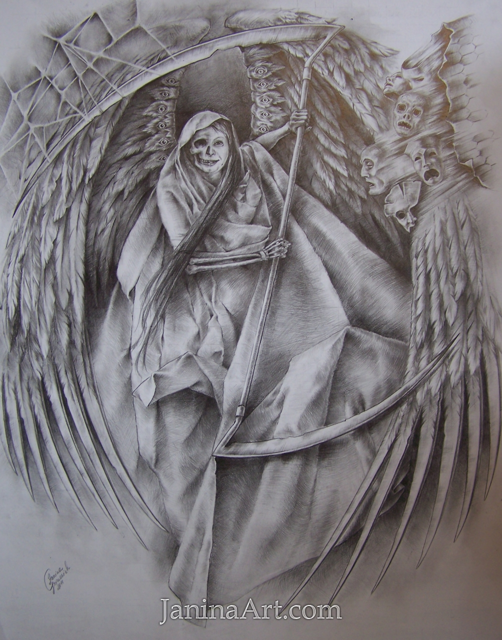 dance of death graphic drawing for tatoo sold gallery janinaart com world of janina grinevich