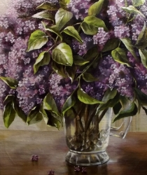 Lilac in the glass Pitcher. Sold