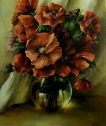 Poppies in Glass. Sold