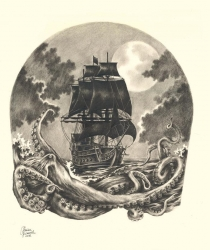 Second part of the drawing for a half-sleeve tatooing, continuing the pirate theme on shoulder, chest and back.