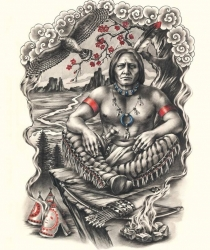 Tattoo drawing for the back. Full of spirit of freedom and inner meditation.