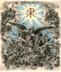 The Archangel Michael (after Julius Schnorr von Carolsfeld's etching). Sold