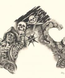Zīmējuma tetovējumam pirmā daļa, pārsēdzot pleci, muguru un krūts daļu, apkārt jau esošām tetovējumām.