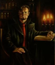 Vīrietis ar svecēm un grāmatu