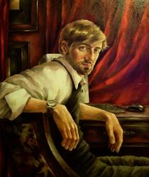 Vīrieša portrets sarkanā interjerā