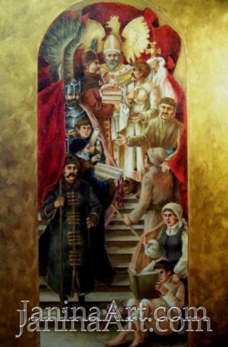 Первичный эскиз для фрески в зале заседаний Центральной сельскохозяйственной библиотеки Варшавы, Польша