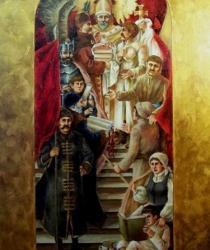 Sākotnēja skice freskai Centrālās lauksaimniecības bibliotēkas conferenču hallē Varšavā, Polijā