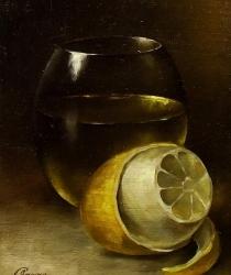 Klusā daba ar citronu. Pārdots