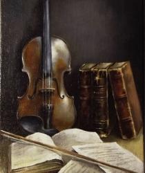 Klusā daba ar vijoli. Pārdots