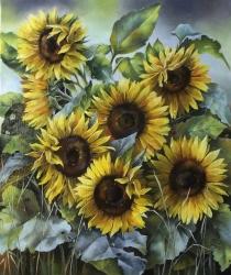 Saulespuķes. Eļļa uz audekļa un kartona.