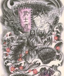 Выполненный под заказ рисунок для татуировки. Графитный карандаш, цветные карандаши, бумага