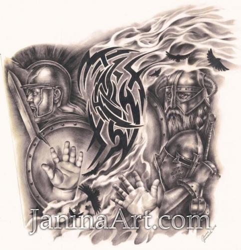 Выполненный под заказ рисунок для татуировки. Графитный карандаш, бумага