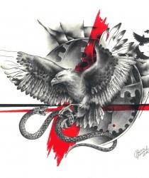Выполненный под заказ рисунок для татуировки. Графитный карандаш, акварель, бумага