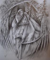 Танец смерти (графический рисунок для татуировки). Продано