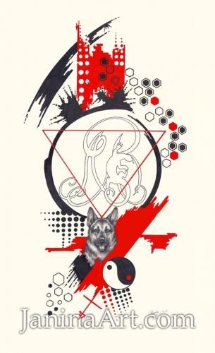 Рисунок для татуировки полурукава,окружающий уже существующую татуировку