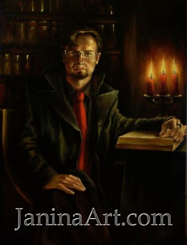 Портрет мужчины со свечами и книгой