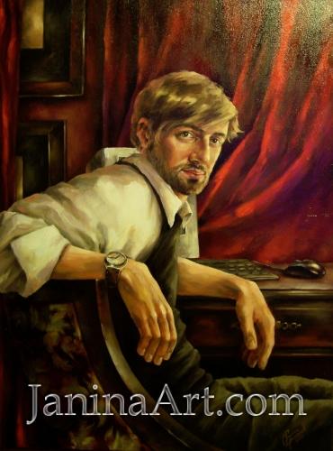 Портрет мужчины в красном интерьере