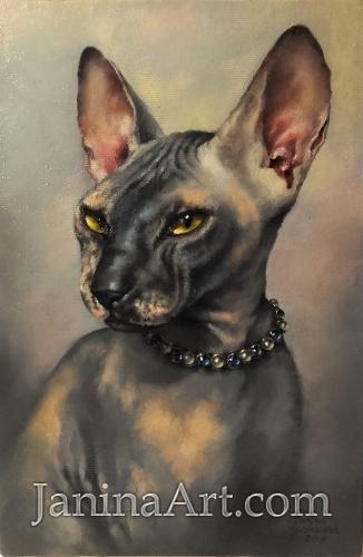 Портрет домашней любимицы в ожерелье.