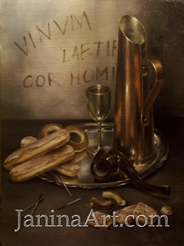 Натюрморт с печеньем и трубкой